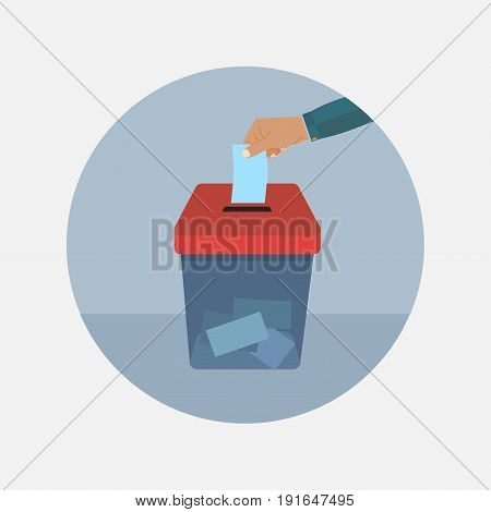Vote vector illustration. Ballot and politics. Vote icon in flat style. Hand puts voting ballot in ballot box. Voting and election concept. Make a choice image. Vote design.