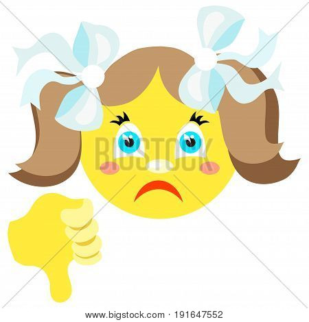 Smiley girl with thumb thumb down. Icons on a white background. Vector image in a cartoon style