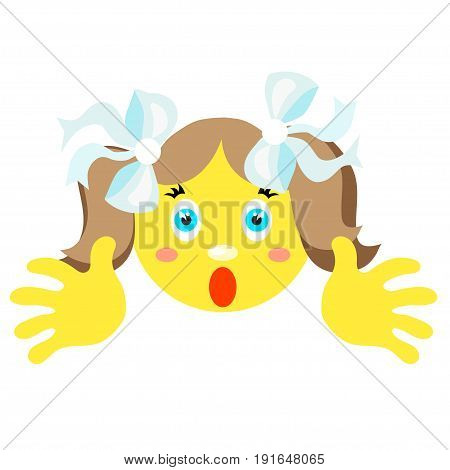 Smiley girl screams, scared. Icons on a white background. Vector image in a cartoon style