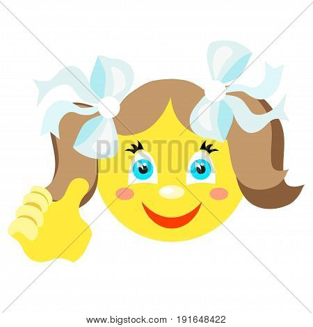Smiley girl with a thumbs up gesture. Icons on a white background. Vector image in a cartoon style