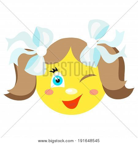 Smiley girl winks and smiles. Icons on a white background. Vector image in a cartoon style