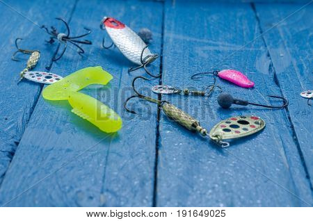 A Variety Of Baits For Spinning Fishing. Baits For Fishing.