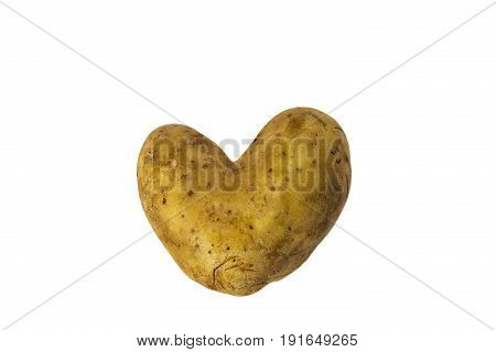 Heart shaped young potato isolated on white