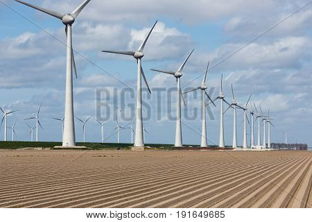 Dutch landscape with wind turbines and stripes of plowed field in early spring