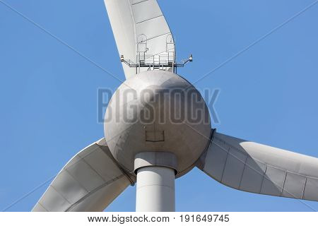 Reverse side of big wind turbine in The Netherlands