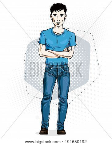 Confident handsome brunet young man standing. Vector illustration of male wearing casual clothes jeans pants and T-shirt.