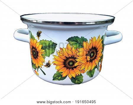 Beautiful enamel colored casserole with attractive pattern of flowers and bees
