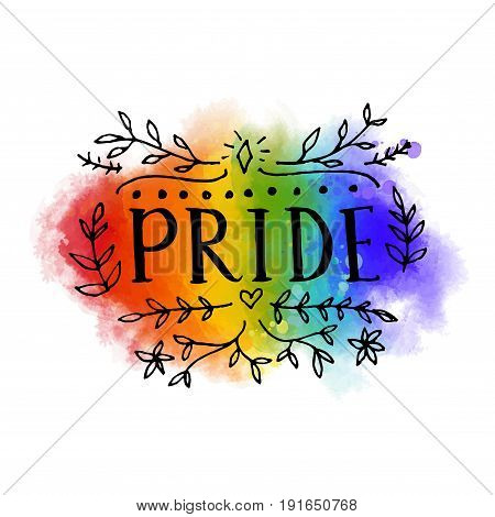 Pride word on rainbow flag of LGBT parade. Bright artistic spectrum with hand drawn lettering