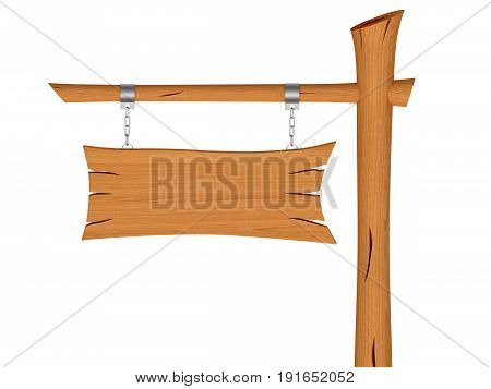 Blank wooden signboard with chain isolated on white background. 3D rendered