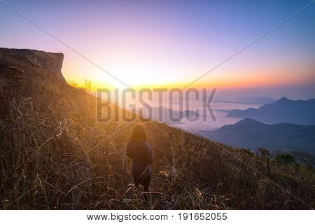 Woman tourist is traveler into the peak of mountain and cloudscape at Phu chi fa in Chiangrai Provice, Thailand. woman traveler standing looking beautiful mist at sunrise. Hiking trekking concept