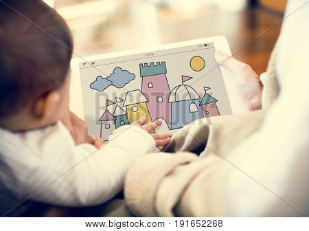 Parents are using digital device sharing to their children.