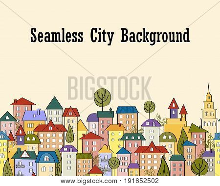 Seamless banner background with rows of colorful cartoon houses. vector Illustration
