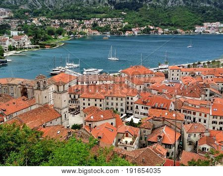 Stunning Aerial View of Kotor Old Town and Bay of Kotor Seen from the Fortification, Kotor, Montenegro