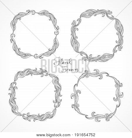Set of floral decorative frames. Abstract retro art