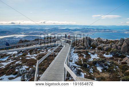 The boardwalk on the summit of Mount Wellington in Hobart the capital city of Tasmania state of Australia.
