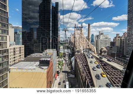 New York NY USA - June 3 2017. View of New York City and Ed Koch Bridge From The Tram Heading to Roosevelt Island