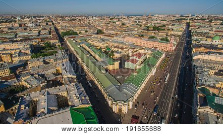 Aerial view of center of Saint-Petersburg and Nevsky avenue