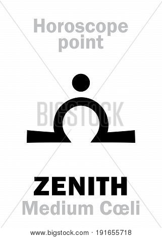 Astrology Alphabet: ZENITH (Medium Coeli), time and point in Astrological chart. Hieroglyphics character sign (single symbol).