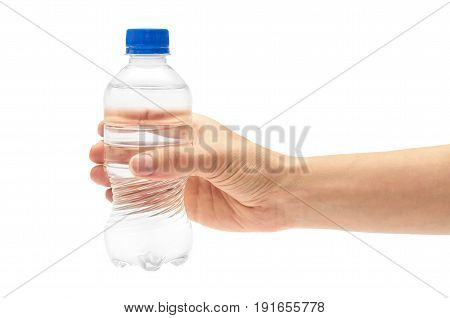Female Hand Holds Clean And Fresh Water Packed In A Plastic Bottle. Isolated On White Background