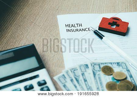 Health Insurance Policy Concept Idea.