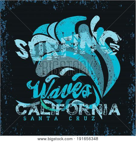 t-shirt surfing california graphic print design grunge texture surfers print stamp surf apparel