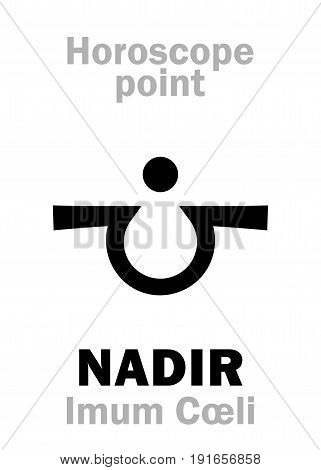 Astrology Alphabet: NADIR (Imum Coeli), time and point in Astrological chart. Hieroglyphics character sign (single symbol).