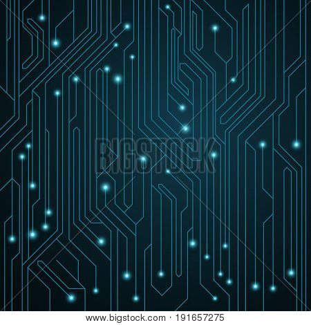 High-tech background. Motherboard with luminous neon connectors. Computer circuit. Vector illustration. EPS 10