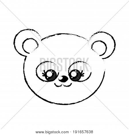 figure cute wild animal face with expression vector illustration