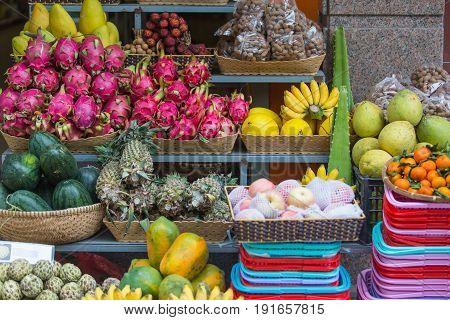Exotic fruits on the counter, Nha Trang, Vietnam