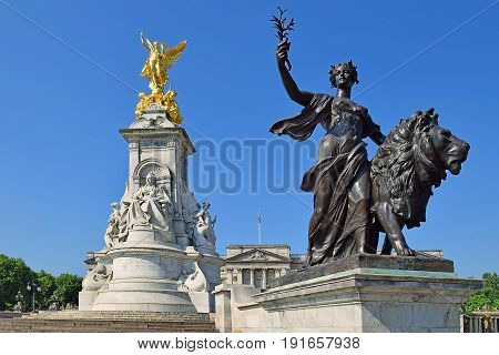 LONDON, ENGLAND - May 25,2017: Victoria Memorial, is a monument to Queen Victoria  by the sculptor (Sir) Thomas Brock, City of Westminster, Central London, UK