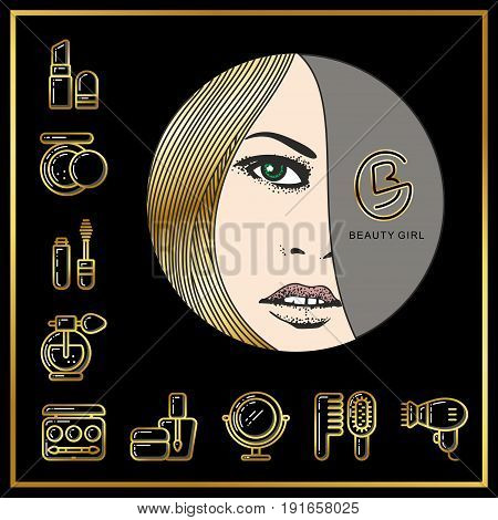Beautiful face of girl with golden hair and beauty cosmetics icons drawn in gold lines on a black background. Vector illustration for use on booklets brochures flyers business beauty salons and hairdressers.