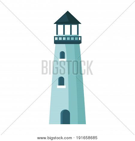 lighthouse cartoon structure on shore vector illustration