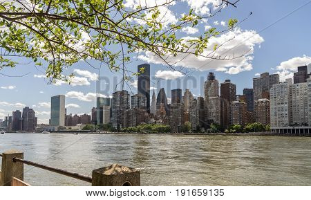 View of East Side Manhattan Skyline And East River