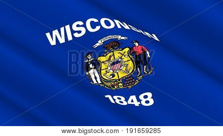 Waving flag of Wisconsin state. 3D illustration.