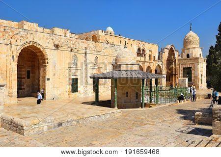 JERUSALEM, ISRAEL - June 15, 2017: islamic shrines at the Temple Mount, Old City of Jerusalem, Israel