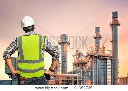 Petroleum engineer inspection structural electric power plant during morning time