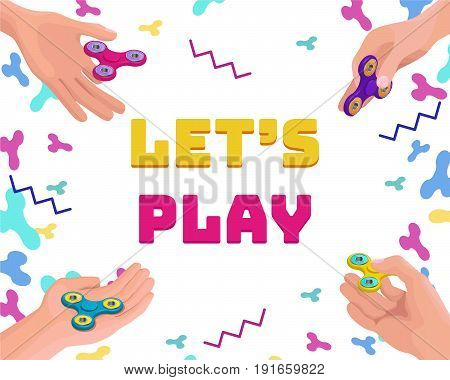 Set of hands holding and playing with fidget spinner, isometric vector background or game concept