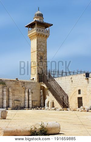 Al-Fakhria minaret, minaret tower on the south-west corner of the Temple Mount, Old City of Jerusalem, Israel