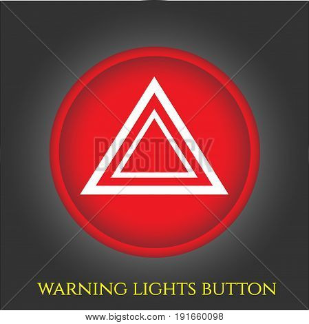 Warning lights button in car, sign and bymol