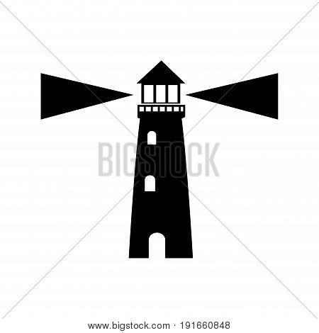 lighthouse guide ocean location signal vector illustration