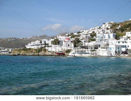 White colored Greek islands architecture on the hillside of Mykonos Old Port, Mykonos island of Greece