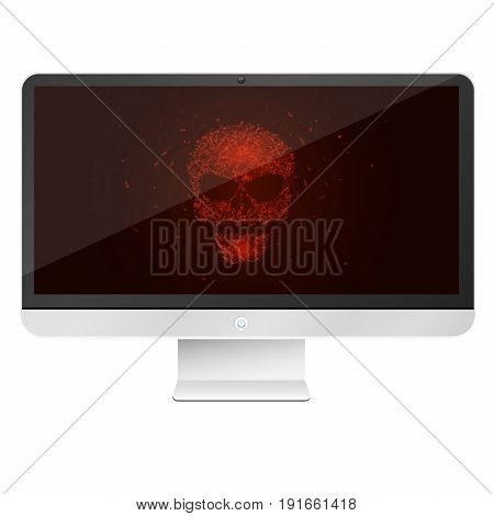 Modern high-tech computer isolated on white background. A glowing red skull from the programming tags. Hackers broke the system. Vector illustration. EPS 10
