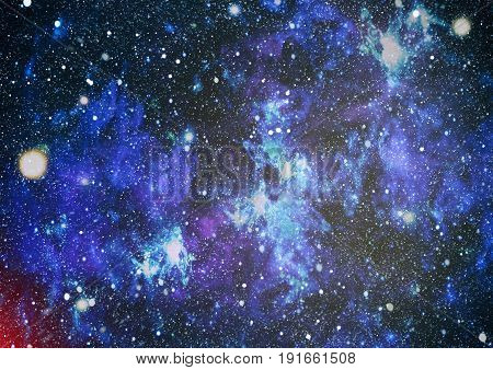 Blue dark night sky with many stars. Milky way on the space background