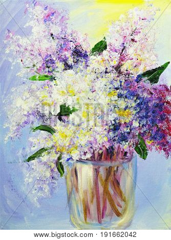 Bouquet of lilac in vase, oil paintings on canvas