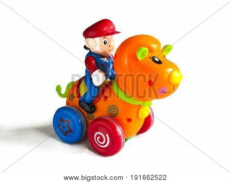 children's toy horse and rider isolated on white background with shadow
