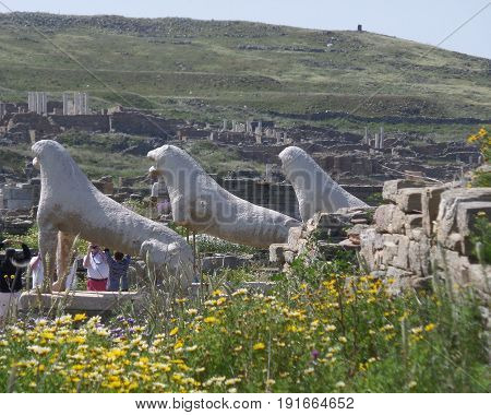 Lions of the naxians, ancient lion statues symbol of Archaeological Site of Delos, Delos Island, Mykonos, Greece