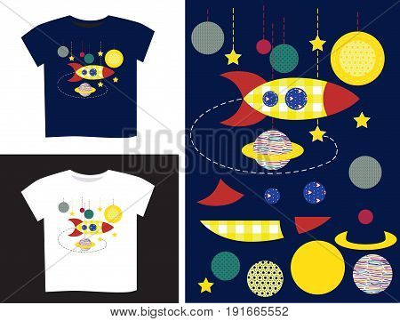 Applique in parts and on a T-shirt on a white and blue background with space with planets and a rocket