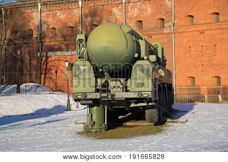 ST. PETERSBURG, RUSSIA - JANUARY 20, 2017: Launching module of the strategic missile system RT-2PM
