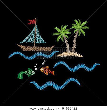 Palm tree and boat on wave with fish embroidery stitches imitation isolated on the black background. Embroidery for logo label emblem sign poster t-shirt print. Vector embroidery illustration.