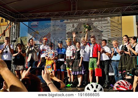 BANSKA BYSTRICA, SLOVAKIA - JUNE 08, 2017: winner statement after second stage of road cycling championship - Tour of Slovakia